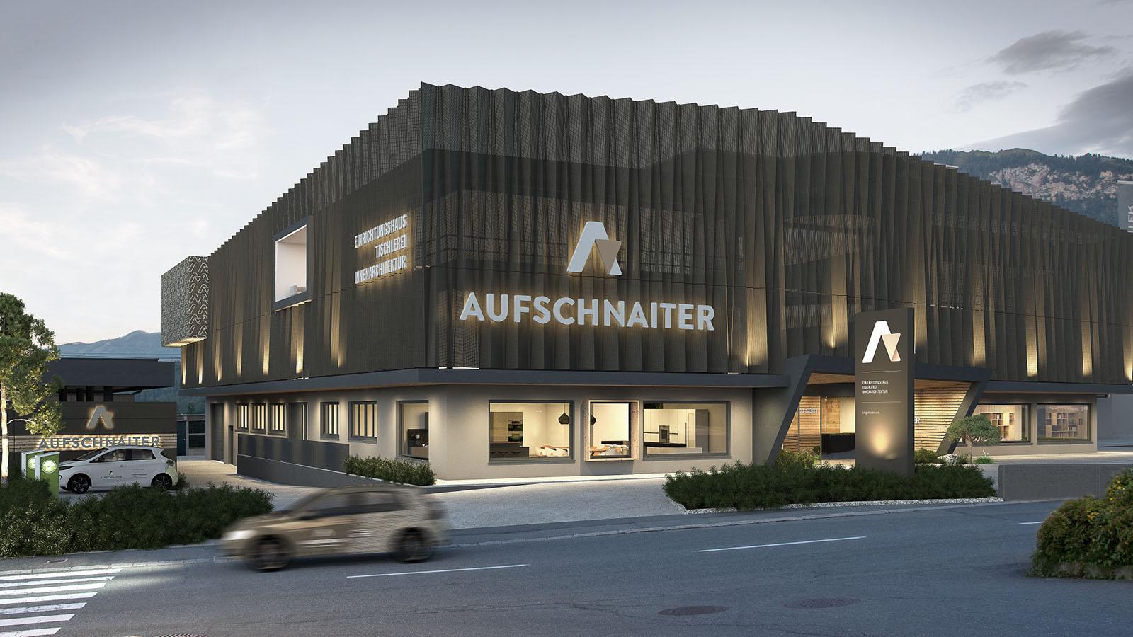 Außenaufnahme der Aluminiumfassade des Hauptgebäudes Almdorf 5