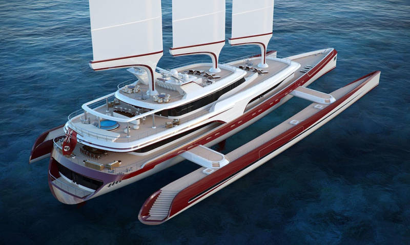 Yacht als Trimaran
