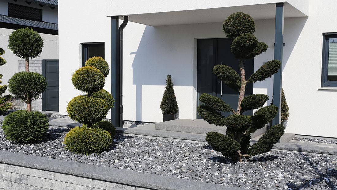 Klassischer Steingarten in der Vorstadt.