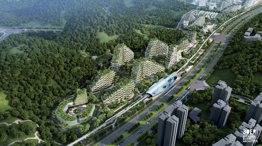 Fassadenbegrünung in China. Im Bild: Liuzhou Forest City, China. Quelle/Visualisierung: © Stefano Boeri Architetti, Milano